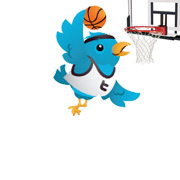 Twitter Bird Playing Basketball